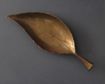 Large Brass Leaf Bowl