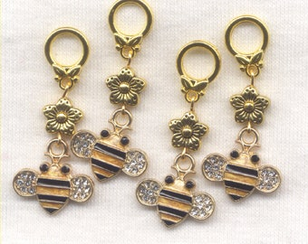 Honey Bee Knitting Stitch Markers Honey Bees Bumblebee Rhinestones Set of 4 /SM27C