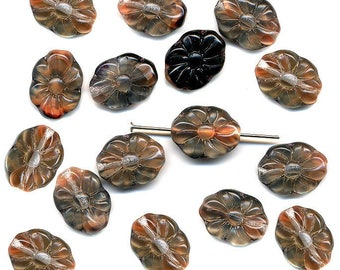 Vintage Flower Beads 15mm Orange Coral, Clear & Black Givre 16 Pcs. Lovely Long, Flat Shape