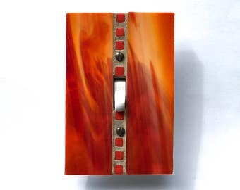 Decorative Switch Plates, Fire Engine Red Stained Glass, Orange Switchplate, Light Switch Cover, Lightswitch Plate, Glass Switch Plate 8571
