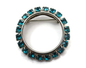 Vintage Rhinestone Brooch - Circle, Wreath, Teal Green Rhinestones, Costume Jewelry