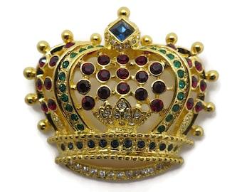 Kenneth Jay Lane Jewelry Rhinestone Crown Brooch - KJL Designer Costume Jewelry