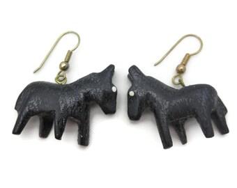 Carved Wood Horse Earrings - Folk Art, Black Horses, Pierced Hooks