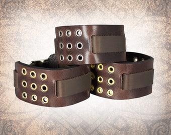 Eyelet Grid - Leather Watch Cuff, Leather Watch Strap, Leather Watch Band, Brown Watch Cuff, Men's Watch Cuff (1 Watch Cuff Only)