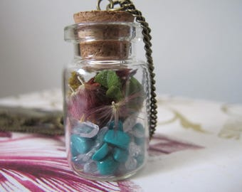Turquoise Faerie Pixie Terrarium Necklace Flowers Crystal