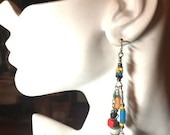 Spring Sale Time Multicolored Glass Trade Bead Earrings Kate's Collection #1