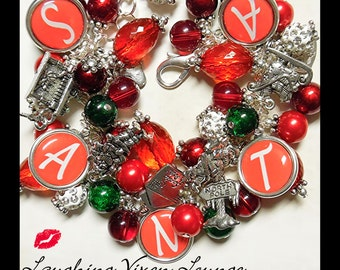 Christmas Jewelry - It's Santa Bracelet - Santa Necklace - Christmas Necklace - Santa Charm Bracelet - Christmas Bracelet