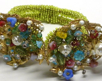 BAROQUE Fantasy Flower GARDEN Beaded Filigree Clamper Statement BRACELET Spring Green Pink Blue Crystals Pearls Miriam Haskell Elements