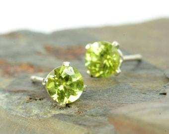 Peridot earrings, sterling silver and peridot studs, birthstone jewellery, 3mm or 4mm, green gemstone earrings, gift for women