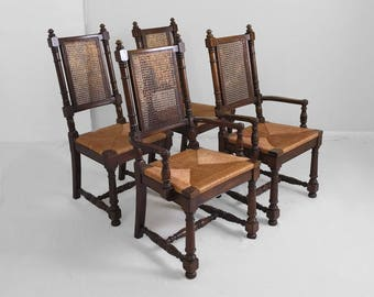 4 spanish revival CANE & RUSH seat turned style dining chairs