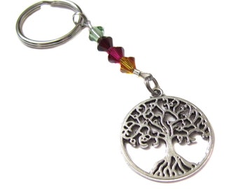 Custom Swarovski Birthstone Crystal Tree Of Life Keychain Key Chain Bag Charm Purse Charm Mother's Day Valentine's Day Mom Grandma Gift