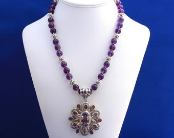 Amethyst Pendant and Necklace with Thai Hill Tribe and Sterling Silvers