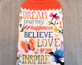 WORDS To LIVE By, HUMMINGBIRD Double Layer Hanging Crochet Towel for kitchen, bathroom, housewarming, birthday, gifts, holiday