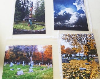 wholesale lot of original photographs graveyard cemetery fall trees landscape sky clouds indian totem pole  Montana nature photography