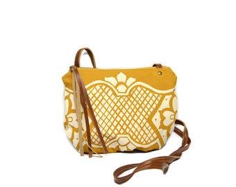 date purse  • small cross body purse - mustard yellow • geometric floral print - waxed canvas • crossbody bag