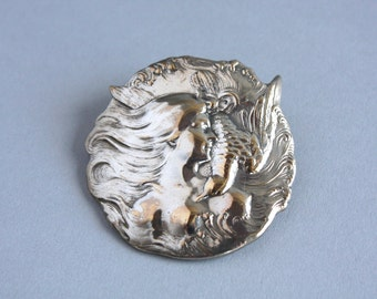 Antique Art Nouveau Brooch / Vintage Fishel Nessler and Co. Brooch / 1900s Silver Plated Lady Brooch