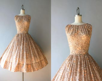 Vintage 1950s Dress / 50s Sheer Floral Sundress / 1950s Full Skirt Cocoa Floral Cotton Dress M medium S/M