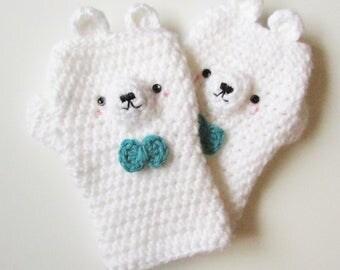 Kawaii adorable bear animal fingerless gloves with bows