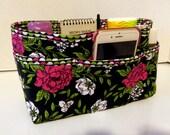 "Purse Organizer Insert/Enclosed Bottom  4"" Depth/ Black and Rose Floral Print"
