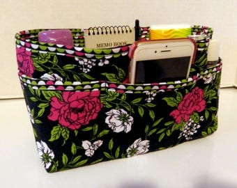 "Purse Organizer Insert/Enclosed Bottom  4"" Depth/ Black and Rose Floral Print"