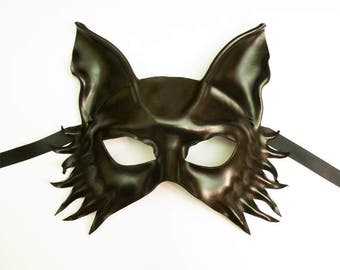 Leather Mask Black Wolf Fox Dog by Teonova