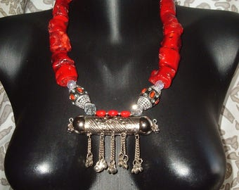 HUGE Red Coral Necklace, Ethnic, Boho, Kuchi Tribal Rabari Metal From India, Festival, Large Decorative Metal Beads, Crystal