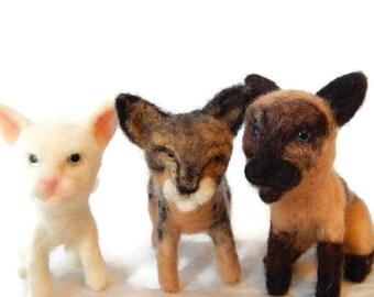 THREE Custom needle felted Cats  - Kitten soft sculpture -  Savanna Cat sculpture - small size - pet memorial sculpture