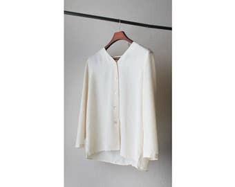 1990s Sheer Silk V Neck Button Down Blouse