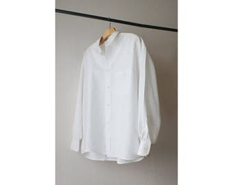 1980s White Cotton Linen Oversized Button Down Shirt