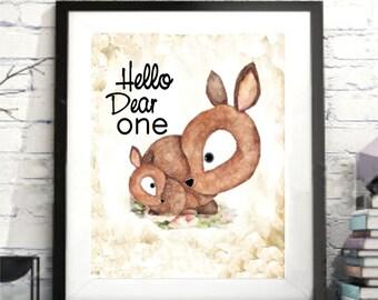 Hello Dear One, Baby and Mother Deer, Deer Watercolor, Deer printable, kids quote, deer gift,baby deer