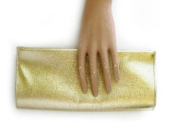 1960s Mod Gold Clutch or Evening Bag - Shiny Glittery Glamour Holiday Handbag