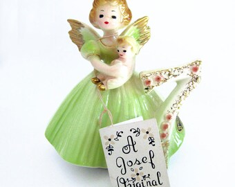 Vintage Ceramic 7th Birthday Angel Figurine / Girl with Lavender Dress with Baby Doll / Signed Josef Originals / Early Years with Tags