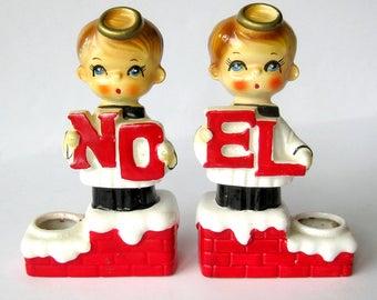 Vintage Christmas NOEL Candle Holder Set / Mid Century Big Eyes Choir Boy Angel Figurines / Angel Halo / Japan