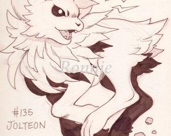 Jolteon original illustration matte print 11 x 8.5, pokemon, home decor