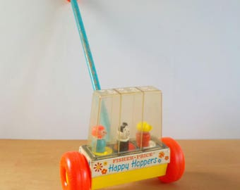 Vintage 1969 Fisher Price Toy • Vintage Happy Hoppers Childs Toy • Vintage Childs Push Toy