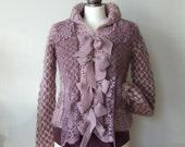Boho lavender cardigan & lace and bows, avant garde chunky hand knit cardigan, romantic coat, artsy clothing, romantic cardigan knit jacket