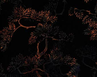 Hoffman Bali Batik HIJ 7001 Black Orange Branches By The Yard