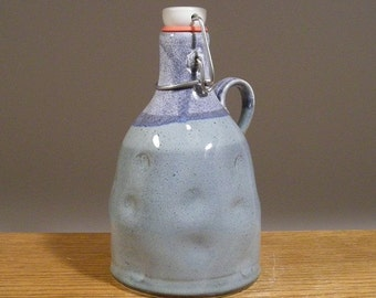 Handmade, Wide Top , Stoneware Pottery , Flip Top , Craft Beer Growler / Howler , Makes an excellent beer lovers gift !