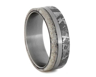 Meteorite Wedding Band, Deer Antler Ring With A Titanium Pinstripe, Wedding Anniversary Ring or Commitment Ring