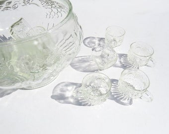1970's Glass Punch Bowl with 10 Mugs // Vintage Holiday Party Punch Bowl // Vintage Home Decor