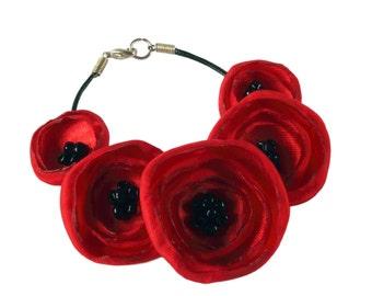 Pretty Red Fabric Poppy Bracelet
