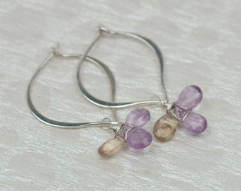 Ametrine Hoop Earrings, Silver Gemstone Hoops, Wire Wrapped Gemstone Earrings