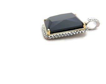 Two Tone Faceted Black Glass Pendant Rectangular