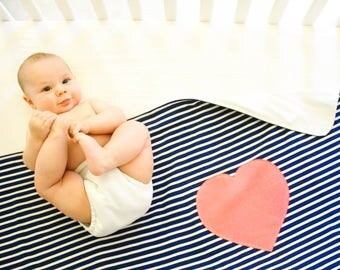 Organic Cotton Baby/Toddler Fleece-Backed Blanket -- Navy and White Stripe with Coral Pink Heart -- Fits Crib/Toddler Bed