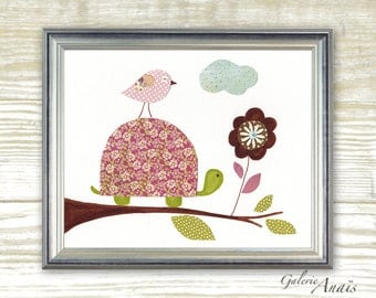 Children's art - kids room decor - baby nursery print - kids art - baby turtle - baby girls - Together Forever print