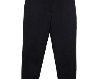 HERMES PARIS Vintage Black Wool EQUESTRIAN riding pants high waist sz 36 st