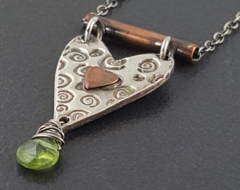 Mixed Metal Heart Necklace, sterling silver, heart necklace, peridot, mixed metal, mixed metals, copper, silver, hearts, michele grady
