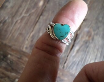 Silver Ring with a Turquoise Heart