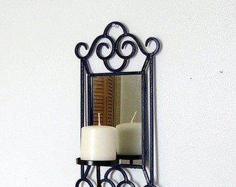 ON SALE Wrought Iron Wall Mirror, Pillar Candle Holder, Candle Holder and Mirror, Cottage Decor, Cobalt Blue and Black, Blue Mirror
