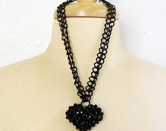 ON SALE Black Heart Necklace, Heart Necklace, Puffed Heart, Goth Heart, Double Strand, Black Chunky Chain, Pendant Necklace, Handmade